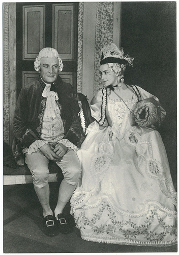 Malcolm Kenn & Peggy Ashcroft as Lady Teazle & Sir Peter Teazle